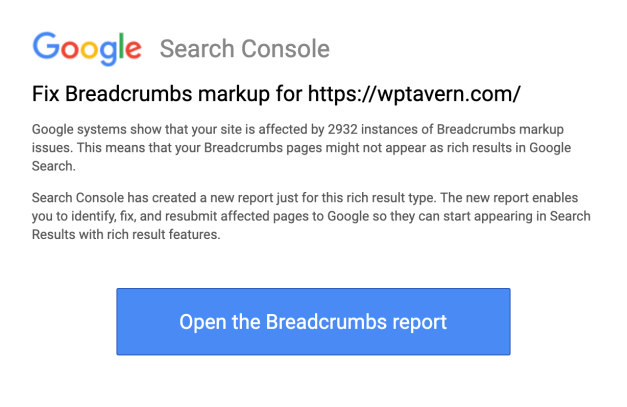 Screen-Shot-2019-09-23-at-9.17.17-AM Google Search Console Adds Breadcrumbs Report, Sends Out Warnings for Structured Data Errors design tips  News|Plugins|breadcrumbs|google