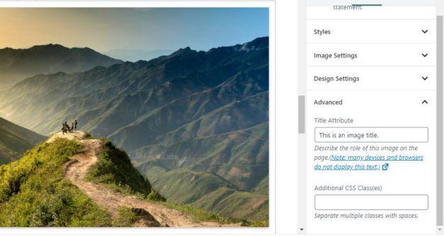 Screenshot of using an image title in the Gutenberg block editor.