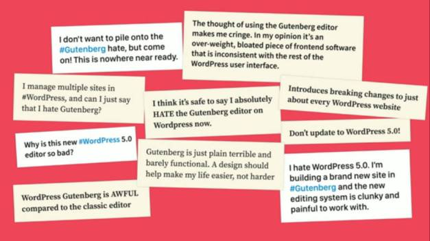 Criticism of Gutenberg from reviews, tweets, and comments.