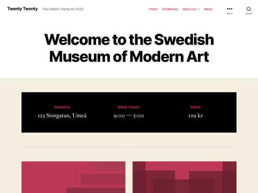 Screenshot showcasing the Twenty Twenty default WordPress theme.