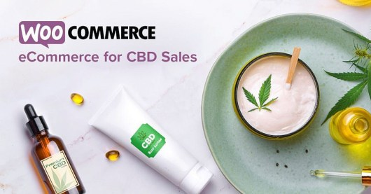Decorative image that showcases CBD-based products with branding for WooCommerce.
