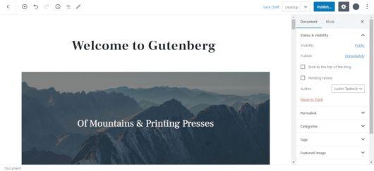 Screenshot of the WordPress editor in fullscreen mode.