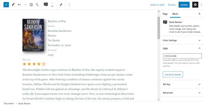Using the Book Review Block in the WordPress editor.