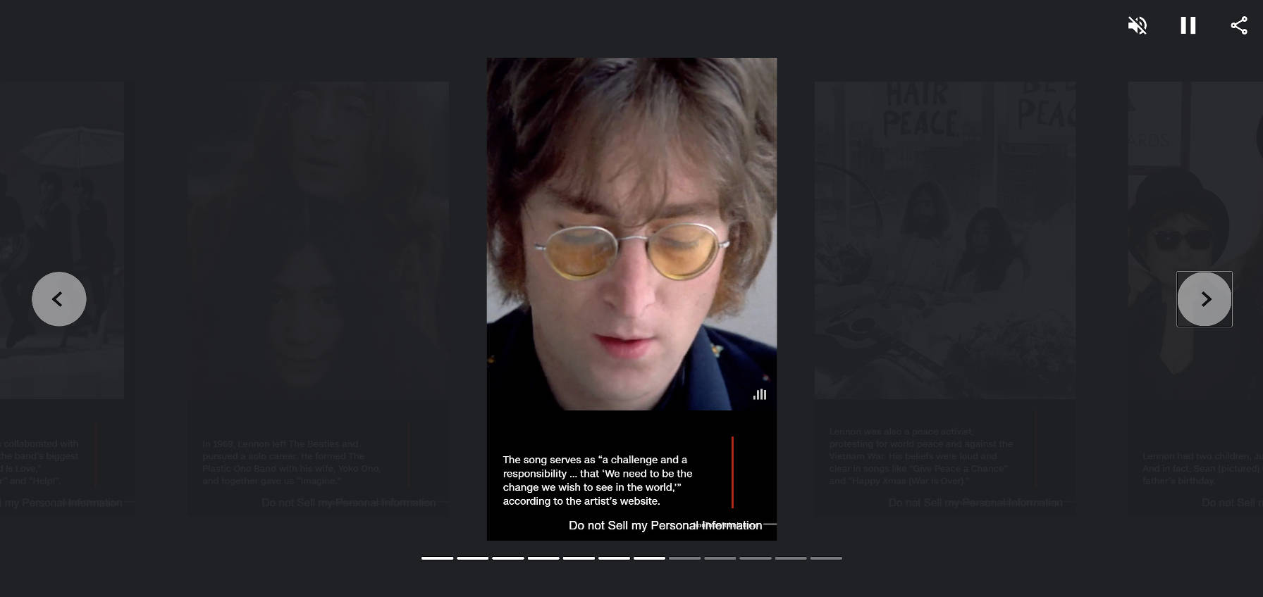 Web Story page from CNN's coverage of John Lennon.