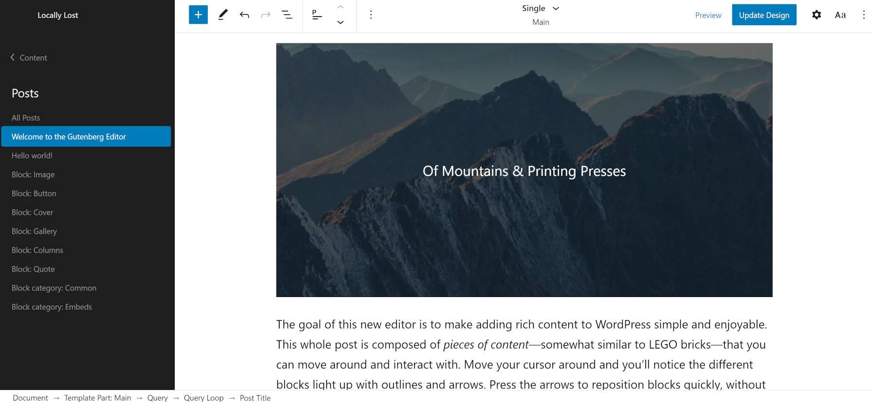 Visualização de postagem única no editor do site do tema Armando WordPress.