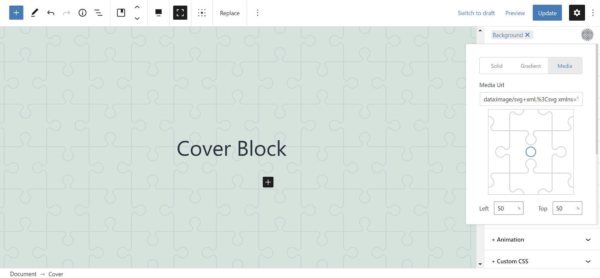 Imagem de fundo SVG no bloco de capa no editor WordPress.