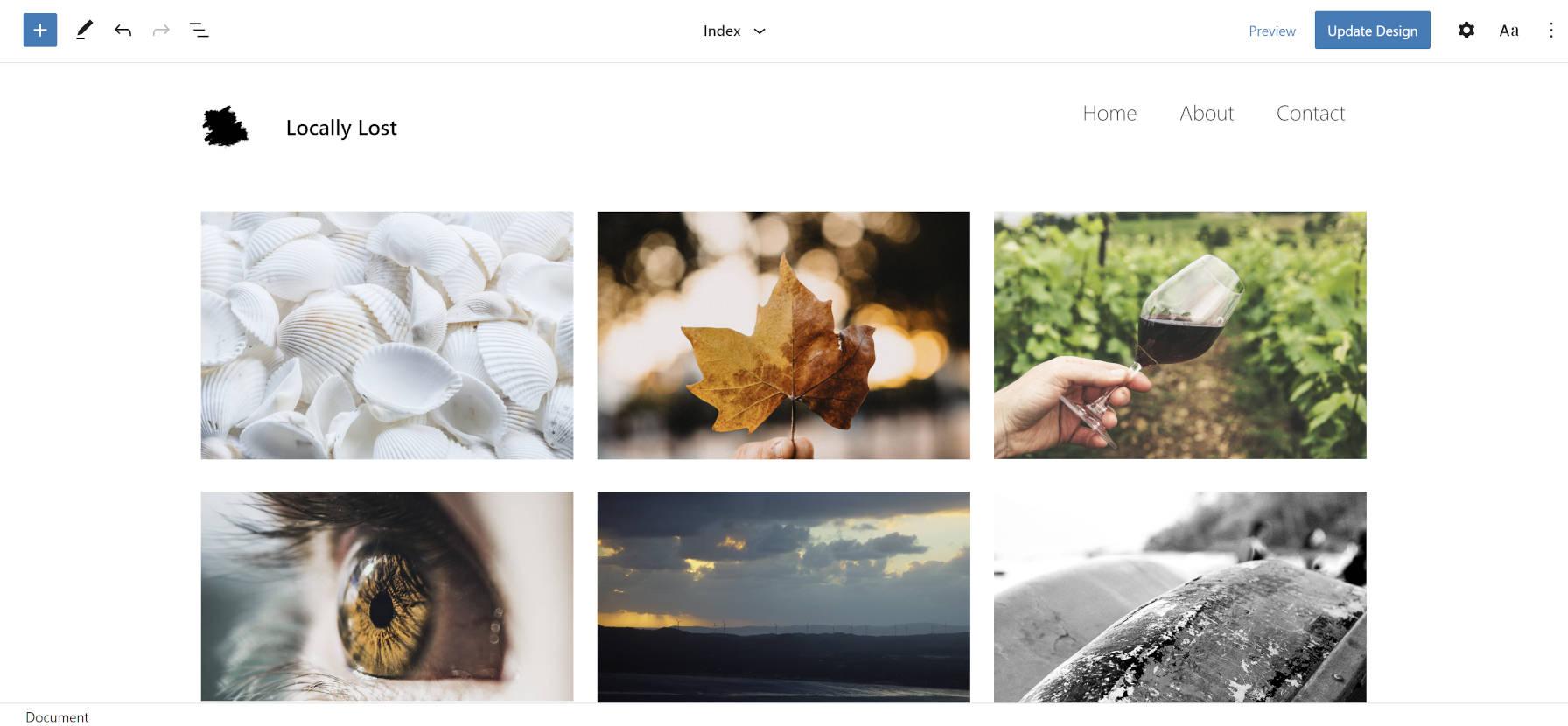 Tema do Photo Blocks no editor do site.