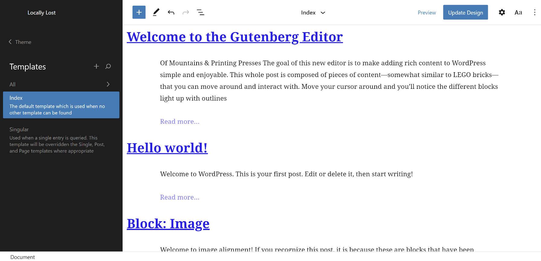 Tema vazio gerado no recurso Editor de sites no plugin Gutenberg WordPress.