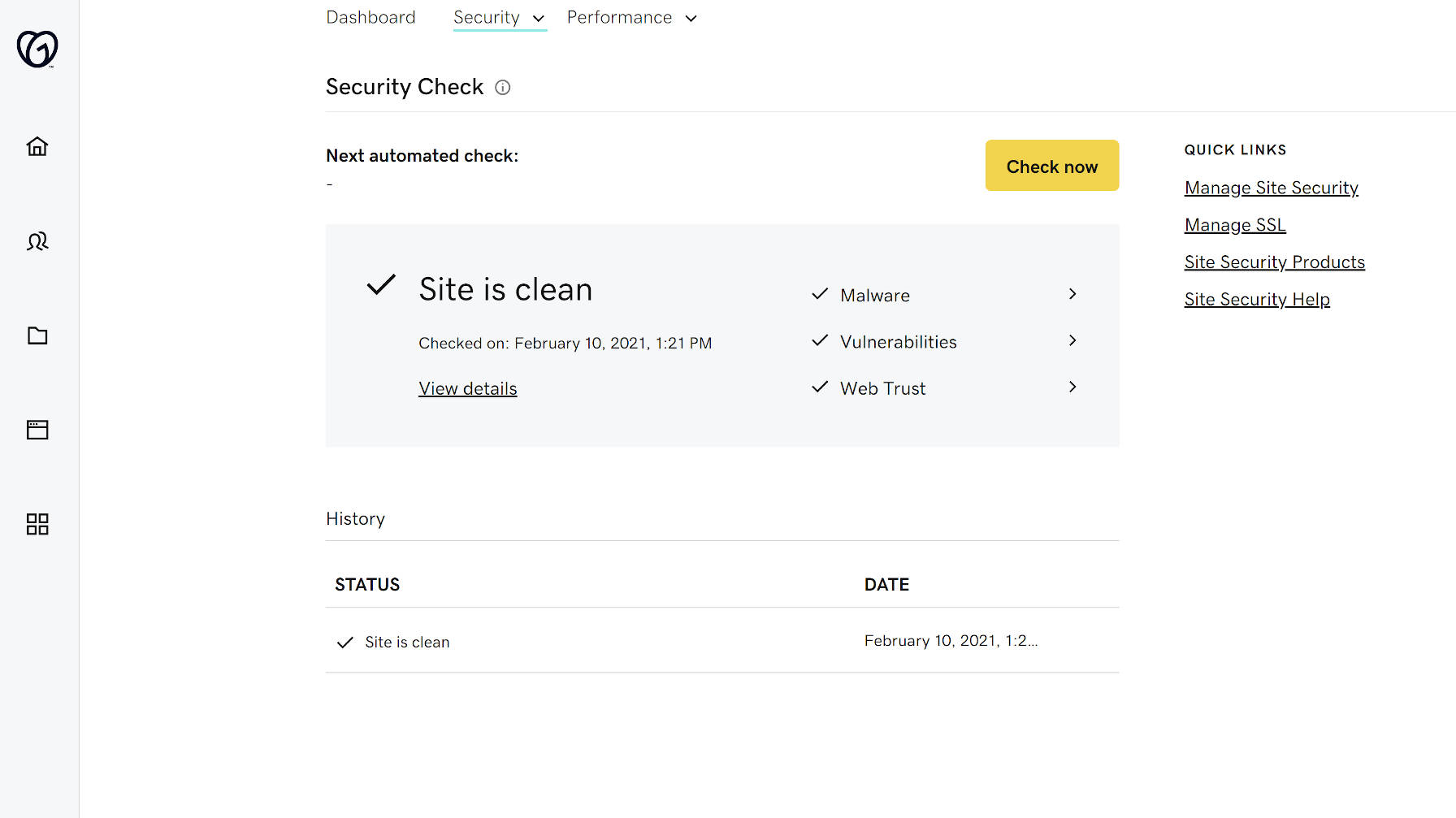 Verifique a segurança do site com o Hub by GoDaddy Pro.