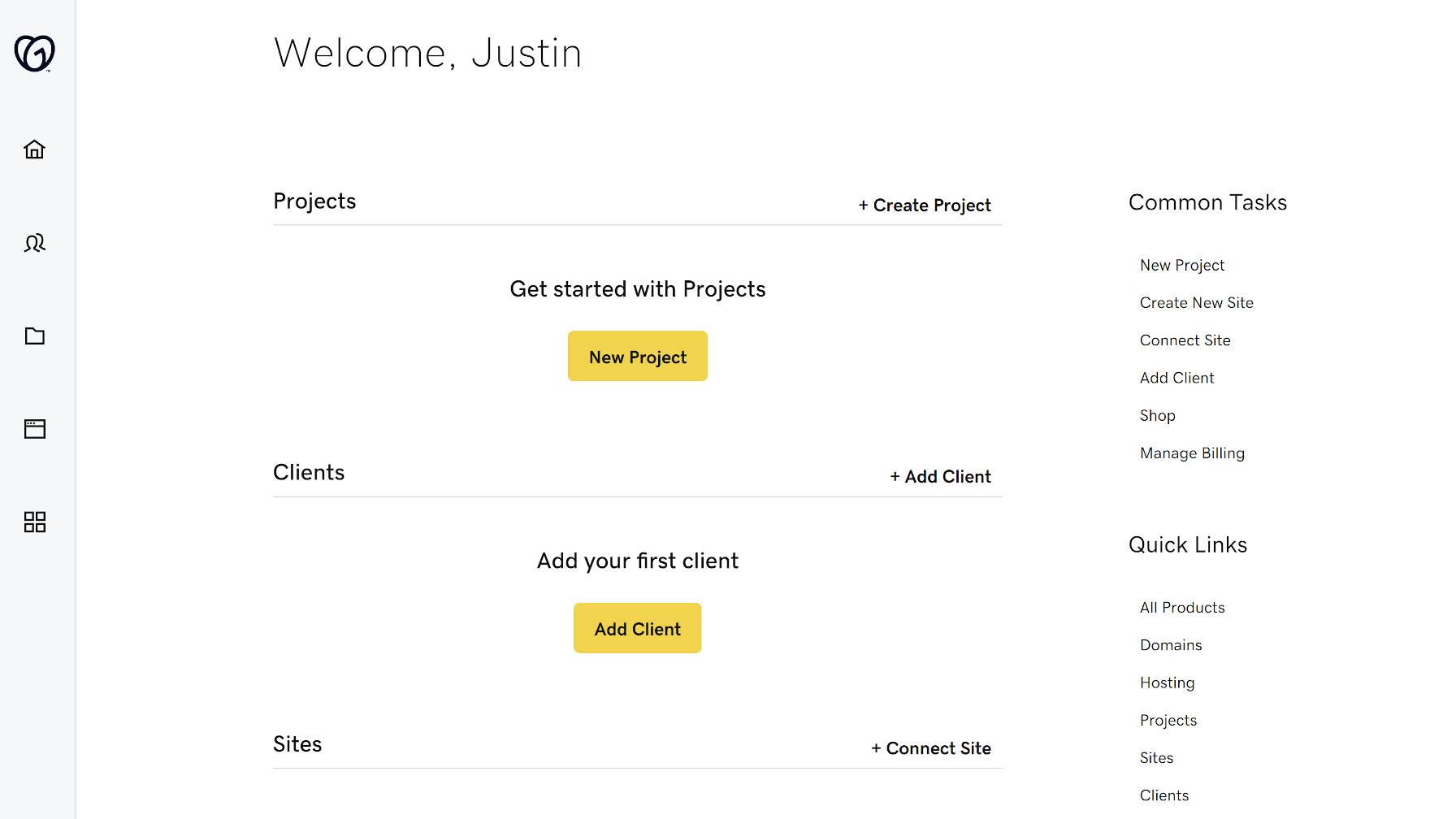 A tela inicial do Hub do GoDaddy Pro.