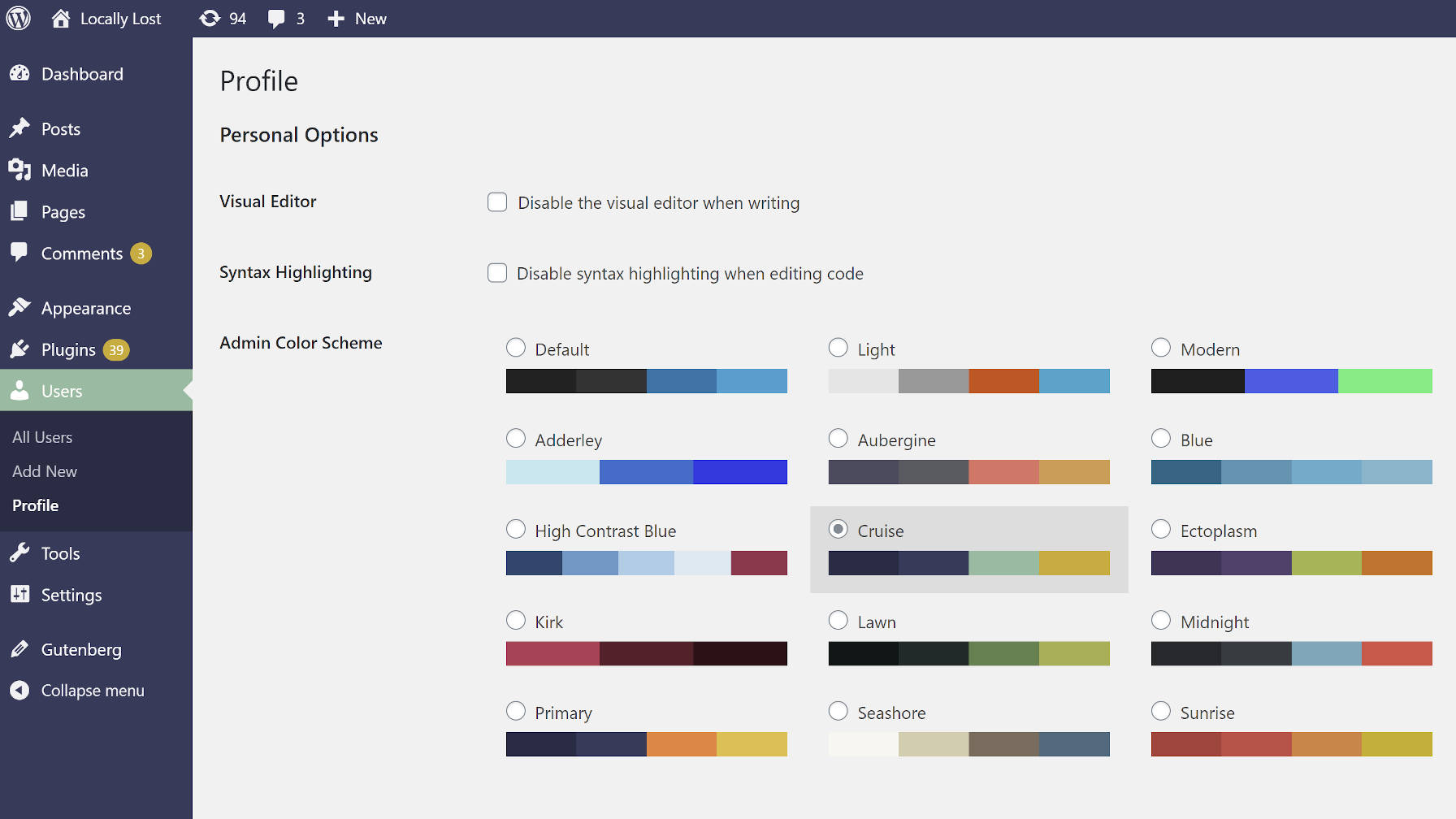 Usando o esquema de cores Cruise do plugin Admin Color Schemes WordPress.