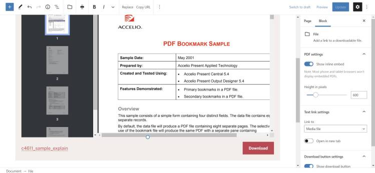 PDF intégré dans le canevas de contenu de l'éditeur WordPress.