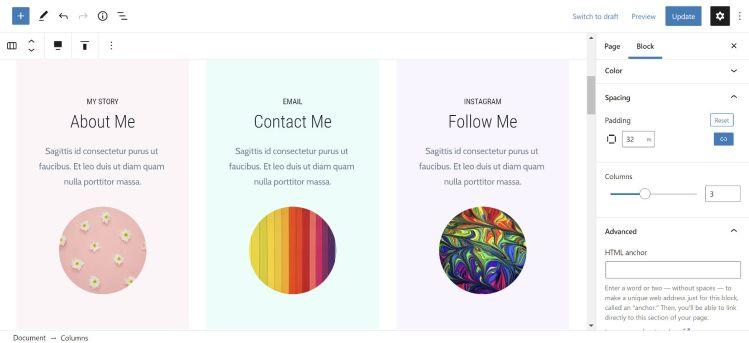 Modification de l'espacement et des couleurs des blocs de colonnes dans l'éditeur WordPress.