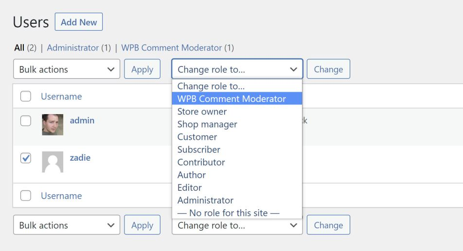Screenshot of the WordPress user management screen, assigning a role to a user.