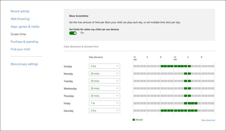 Screenshot managing screen time on Xbox One