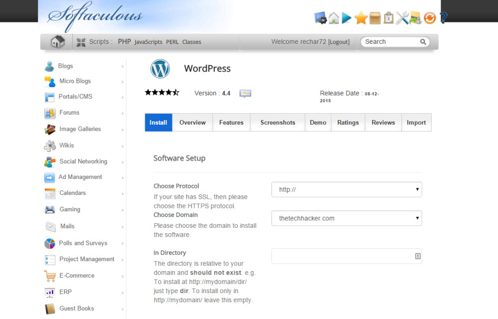 Softaculous WordPress Installation