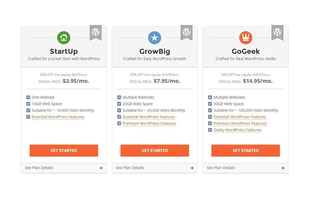 siteground wordpress hosting plans