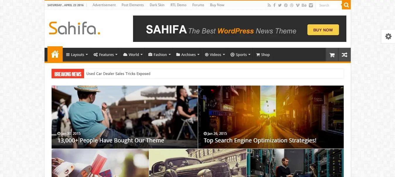 Shahifa WordPress Theme