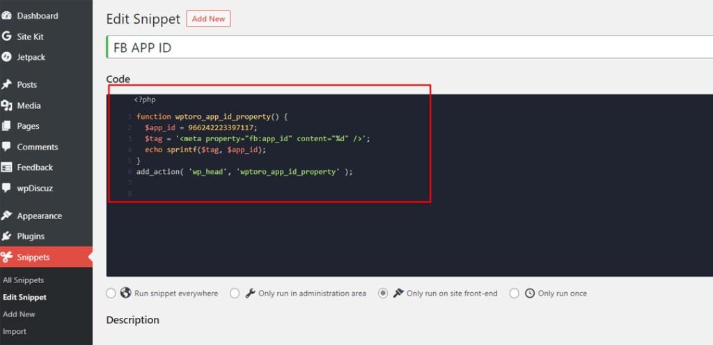 fb:app_id error fix code snippet