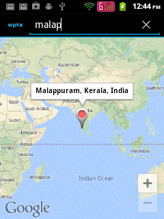 Showing selected place in Google Maps