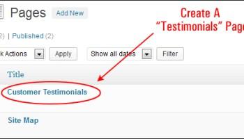 Add A 'Testimonials' Page
