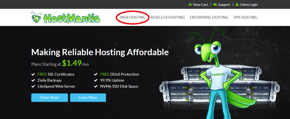 hostmantis homepage