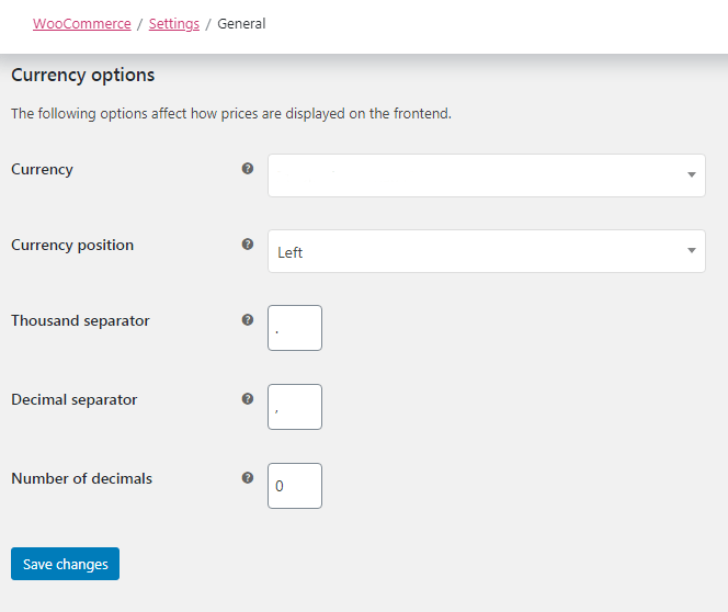woocommerce currency option