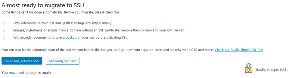 really simple ssl UI