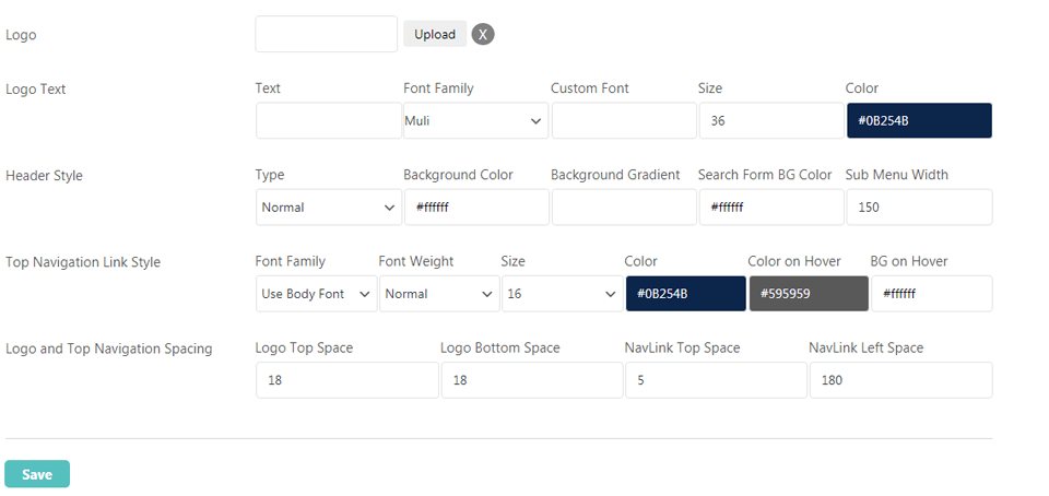 wp typeface header settings