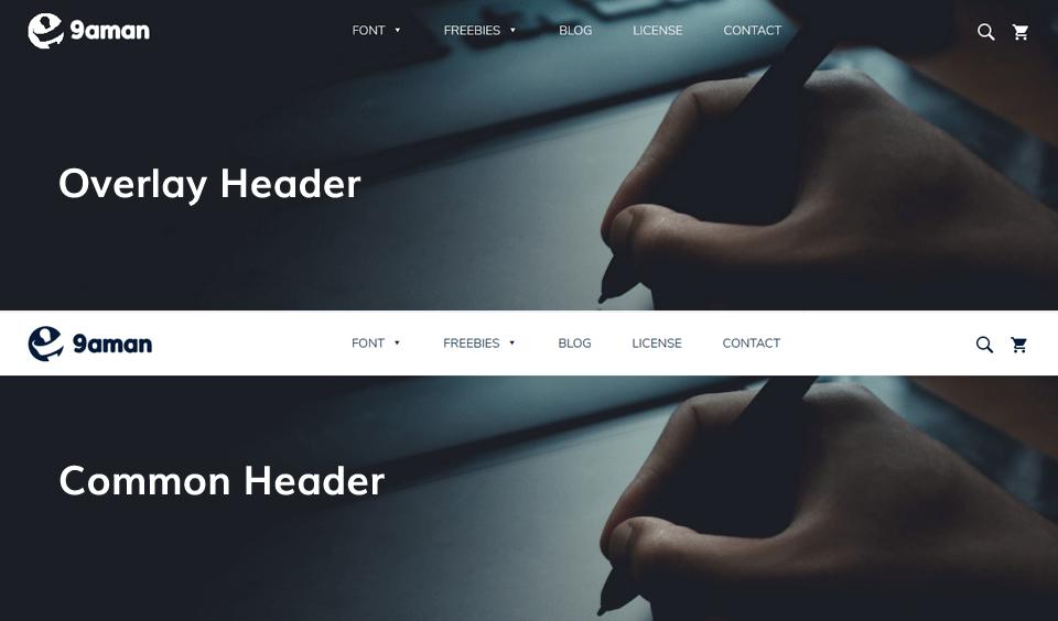 wp typeface overlay header