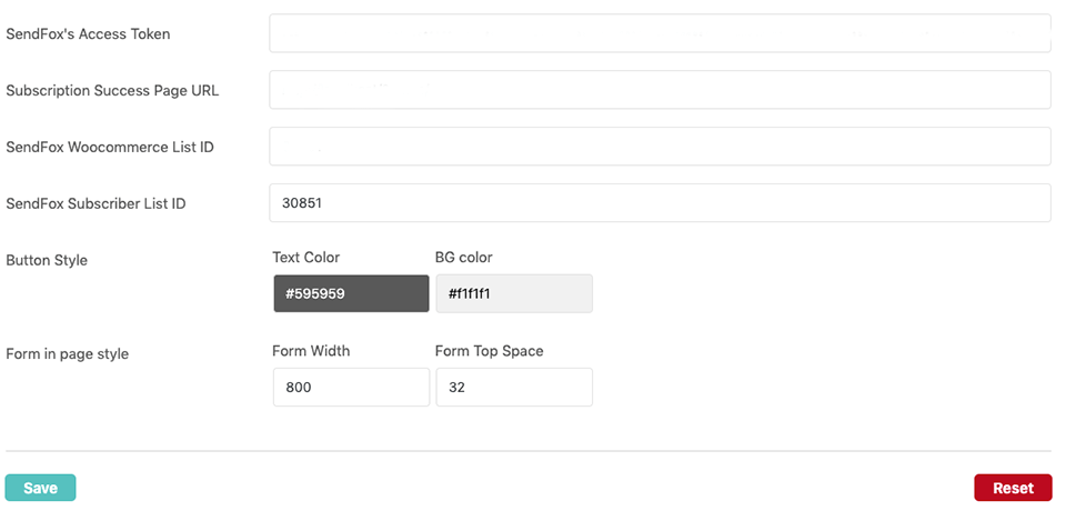 sendfox woocommerce setting fields