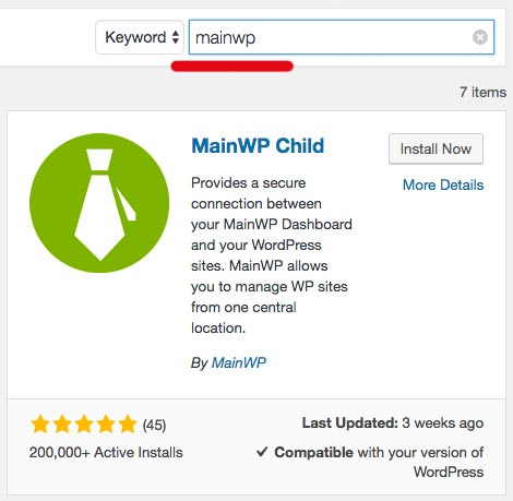 Wordpress dashboard Plugins Search