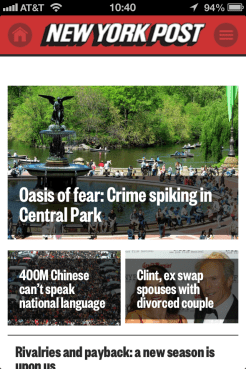 NY Post mobile view