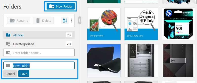 FileBird Media Library Create Folder