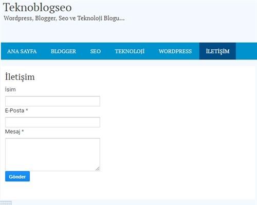 Blogger İletişim Sayfası
