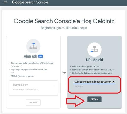 Google Search Console url yazmak