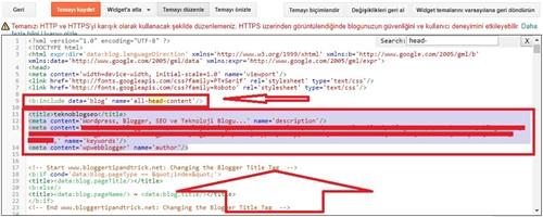 blogger meta tag eklemek