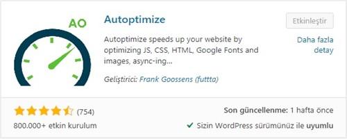 wordpress autoptimize kurulumu