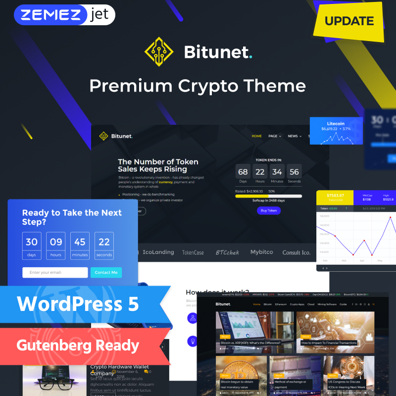 Bitunet - Cryptocurrency Elementor WordPress Template