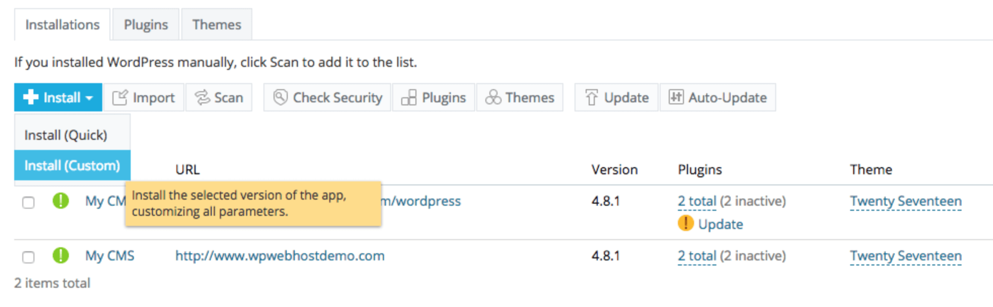 Installing WordPress using a one-click option in the WPWebHost dashboard.