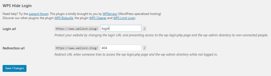 wps hide login setting