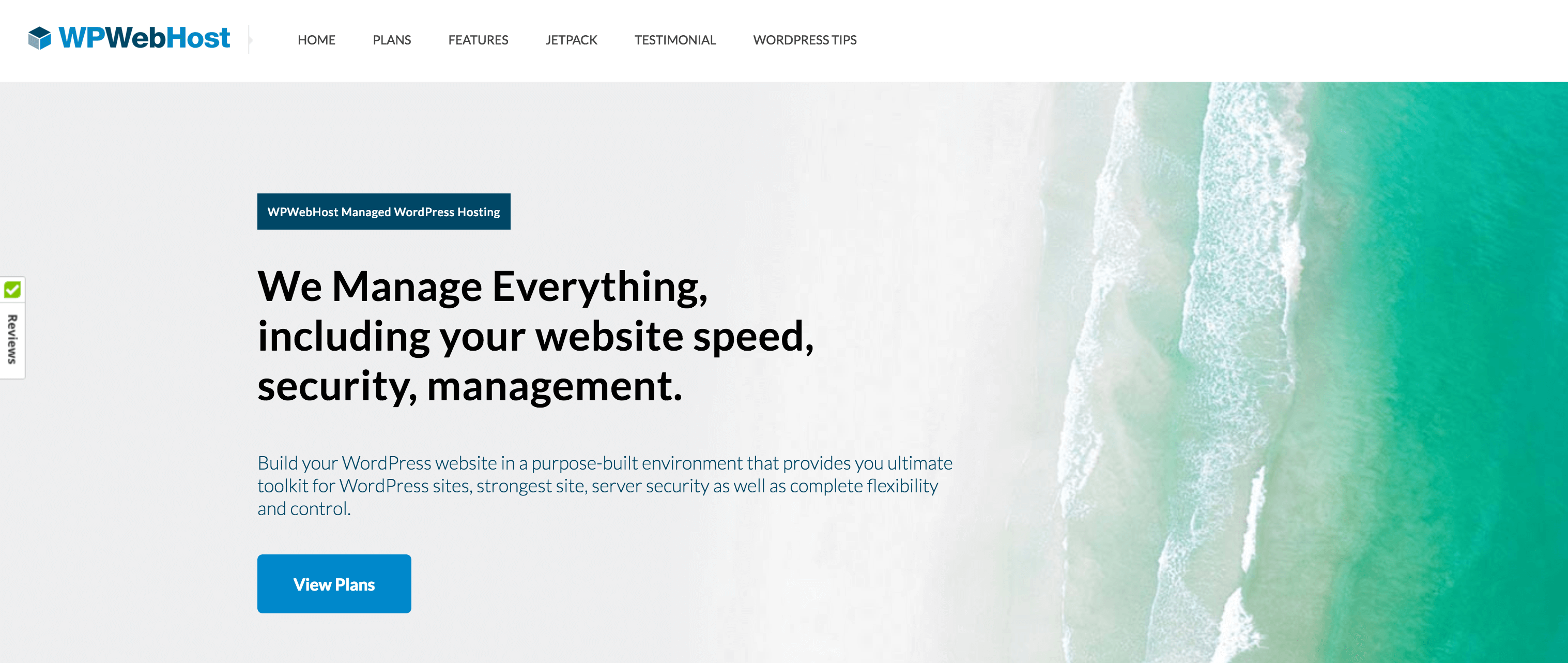 The WPWebHost page for WordPress managed hosting.