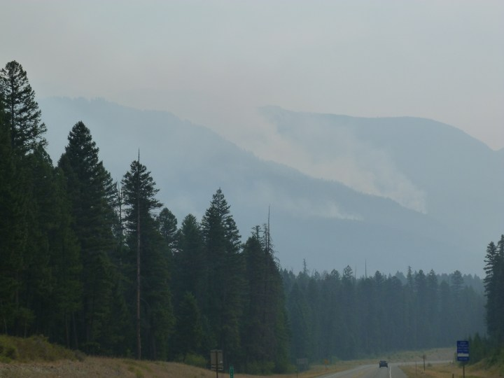 One of the forest fires burnine near Seeley Lake
