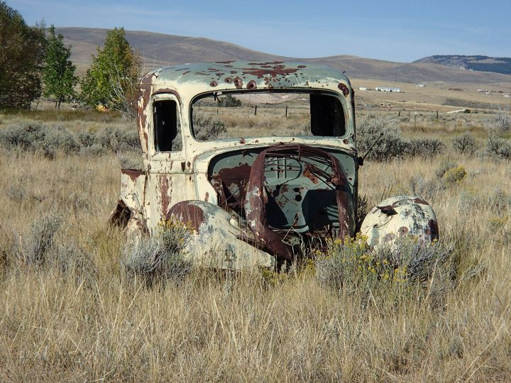 We have passed a lot of old cars rotting in the fields. Judging by the bullet holes this one must have been used by Bonnie and Clyde