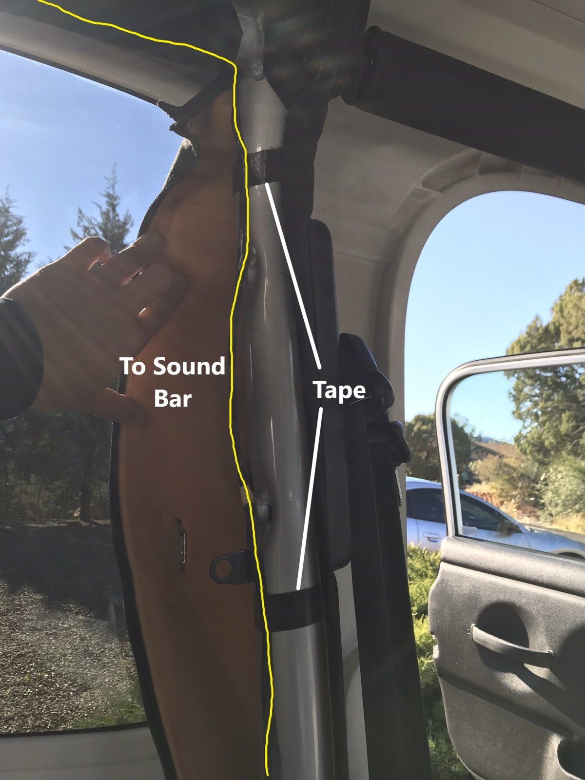 hight resolution of undo the velcro around the roll bar that the sound bar attaches to reach up above the roll bar and remove the plug this can be done without removing your