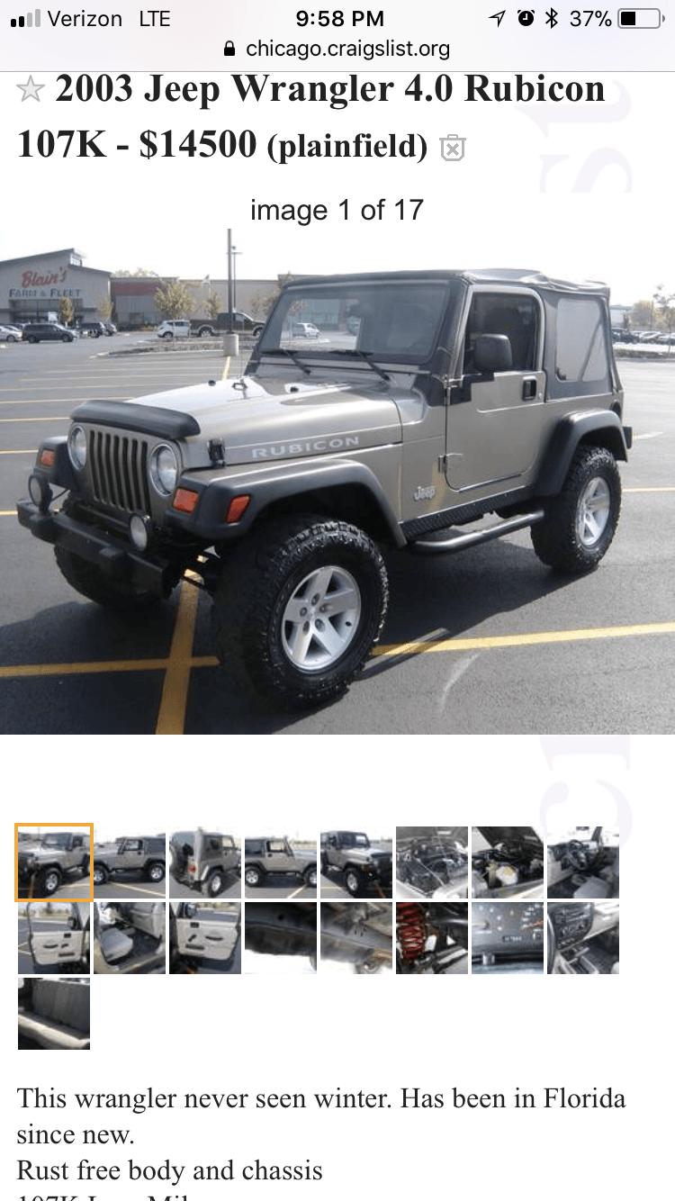 Craigslist Jeep Wrangler : craigslist, wrangler, Jeep:, Craigslist
