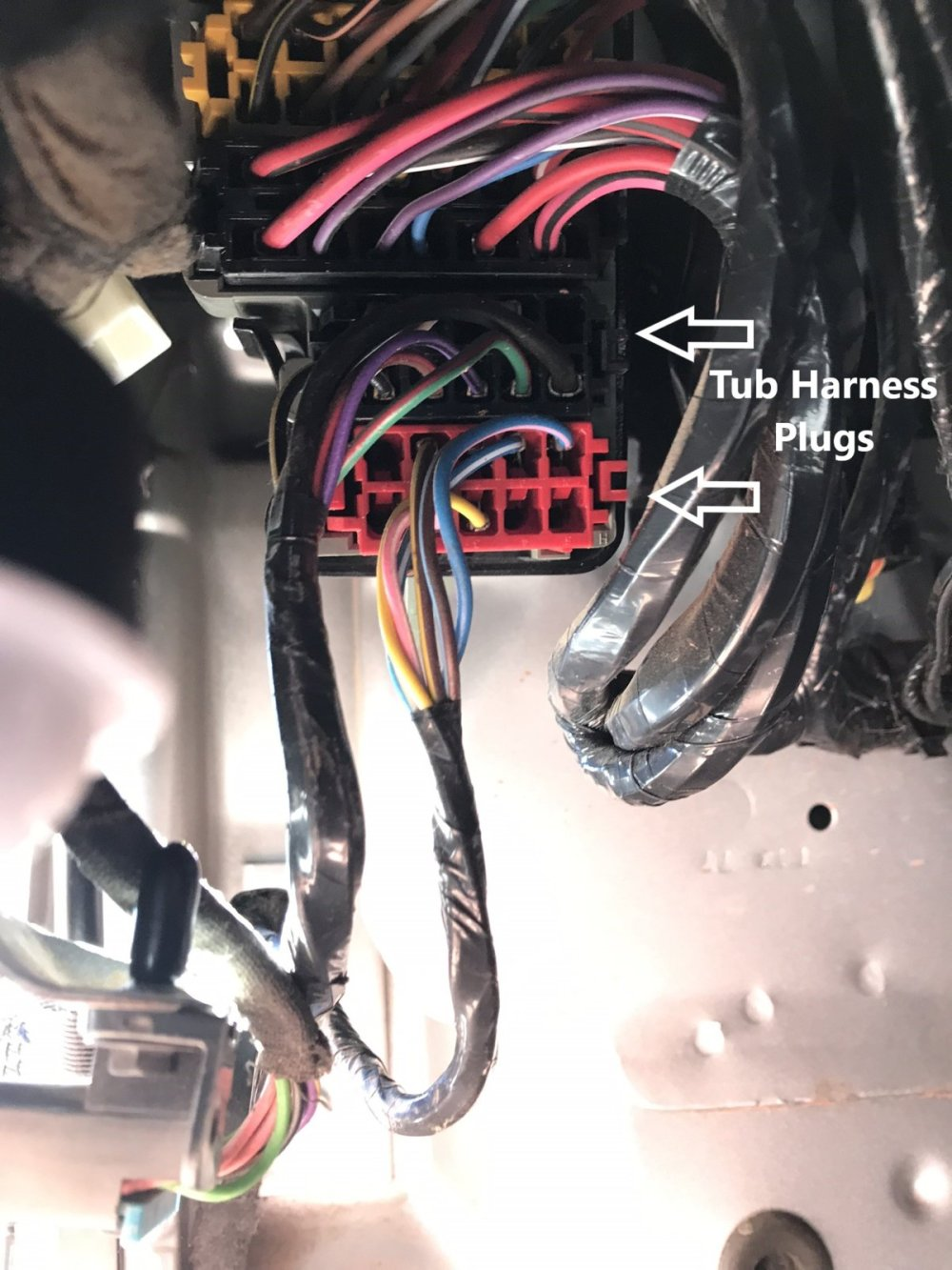 medium resolution of go ahead and start by finding the 100 way connector under the dash next to where your left leg would be remove the bottom black and red plugs
