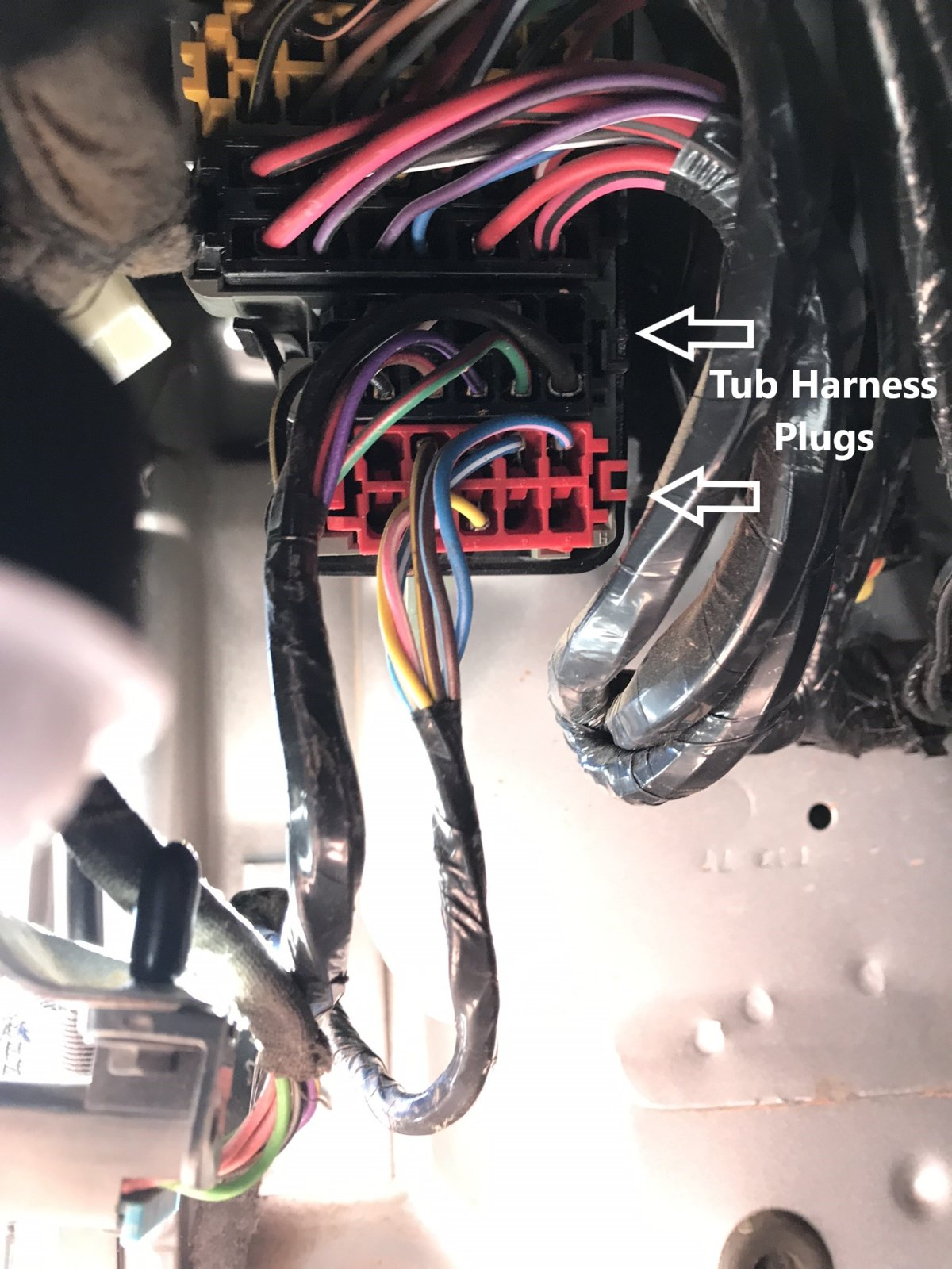 hight resolution of go ahead and start by finding the 100 way connector under the dash next to where your left leg would be remove the bottom black and red plugs