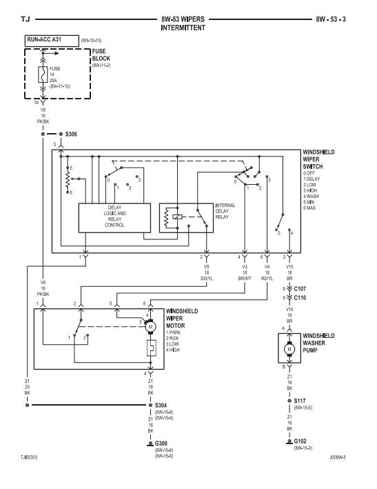 Intermittent Wiper Wiring Diagram For A 2000 Jeep Wrangler
