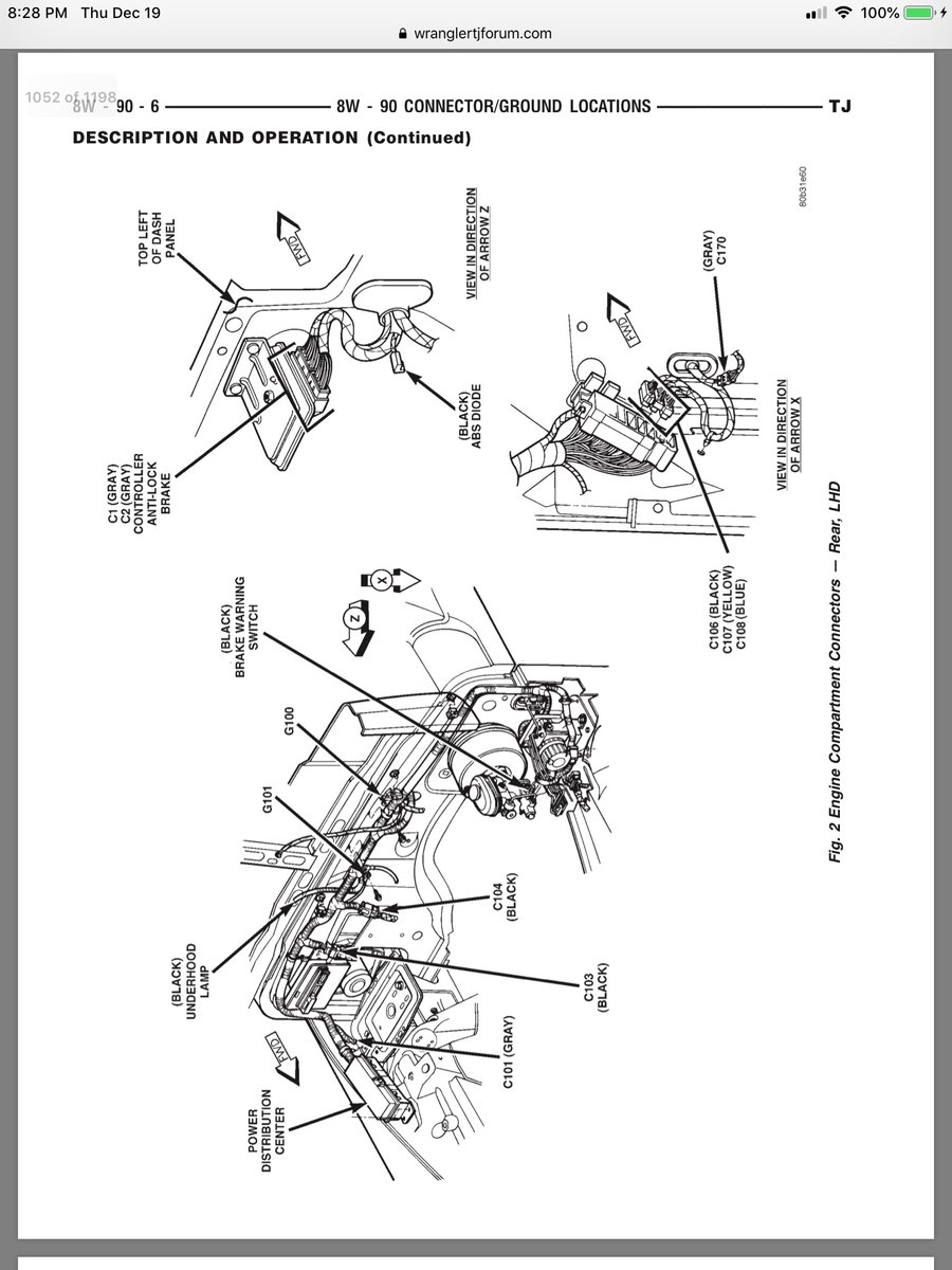 Where are the ground wires located on a 1997 Jeep Wrangler